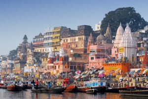 colorful main ghat in varanassi